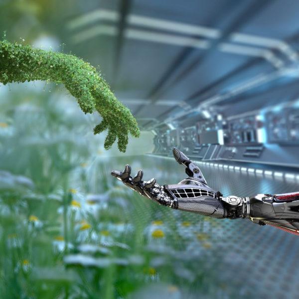 mãos ilustrando a junção de sustentabilidade e tecnologia